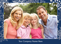 Silver Snowflakes on Blue Holiday Photo Cards
