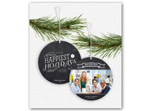 Chalkboard Greetings Photo Ornament Holiday Cards